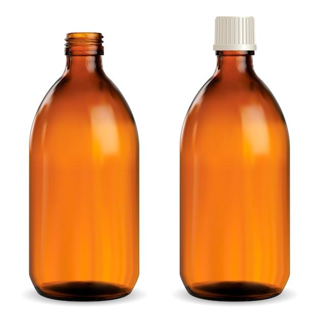 Flacone medico marrone, fiala di vetro ambrato, Vettore Premium