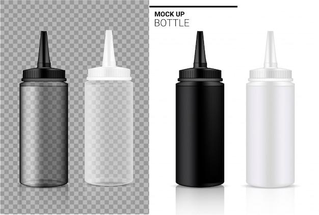 Flacone realistico trasparente bianco, nero e plastica fiala o contagocce. Vettore Premium