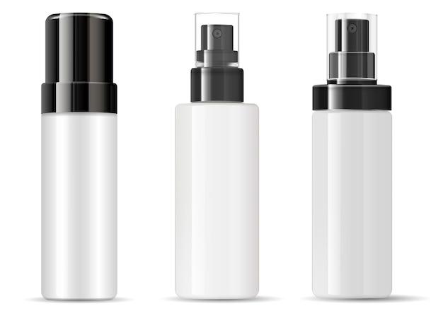 Flacone spray confezione cosmetica vuoto in plastica Vettore Premium
