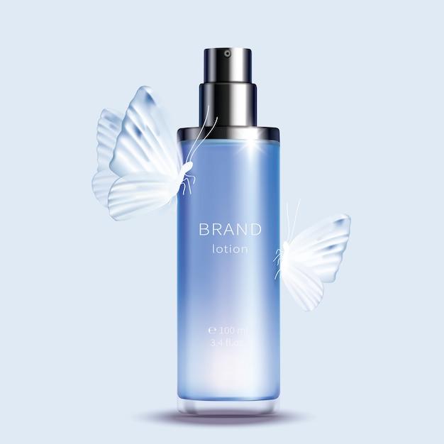 Flacone spray in vetro blu Vettore gratuito