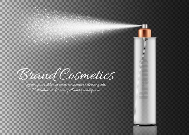 Flacone spray realistico isolato su sfondo trasparente. contenitore con spruzzatore per la bellezza Vettore gratuito