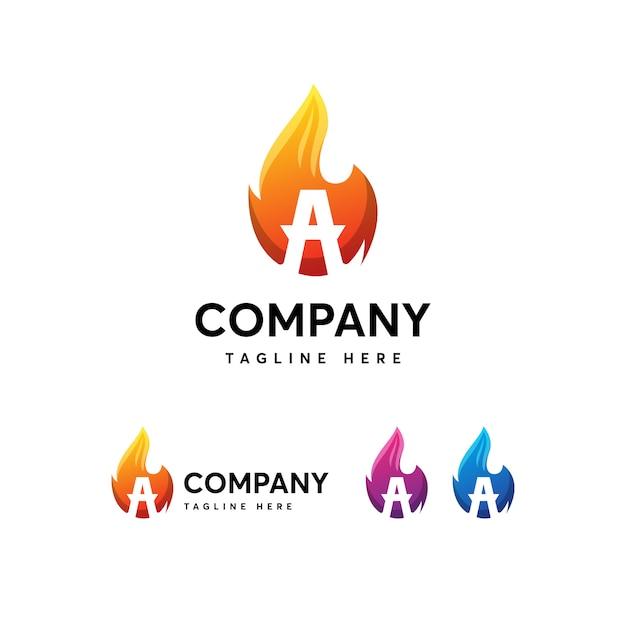Flames fire letter un modello di logo Vettore Premium