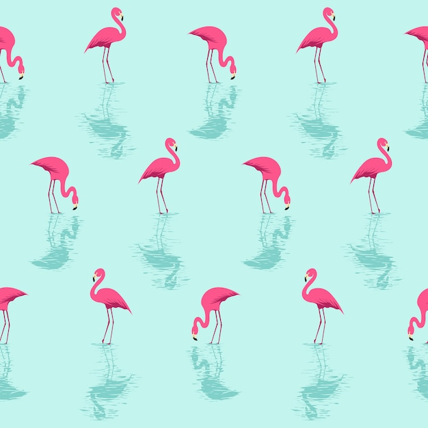 Flamingo and water summer pattern Vettore Premium
