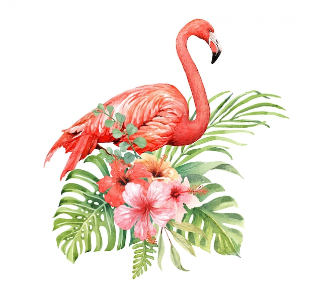 Flamingo dell'acquerello in hibiscus bouquet Vettore Premium