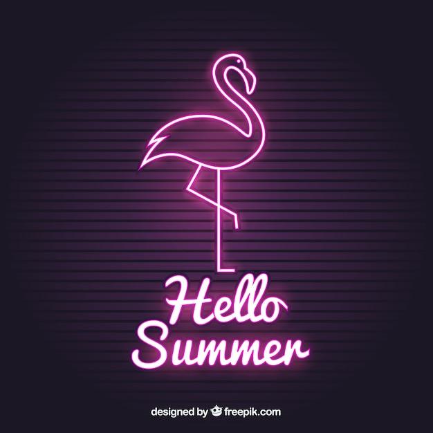 Flamingo neon con luce rosa Vettore gratuito