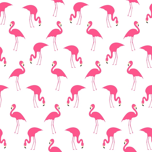 Flamingo summer seamless pattern Vettore Premium