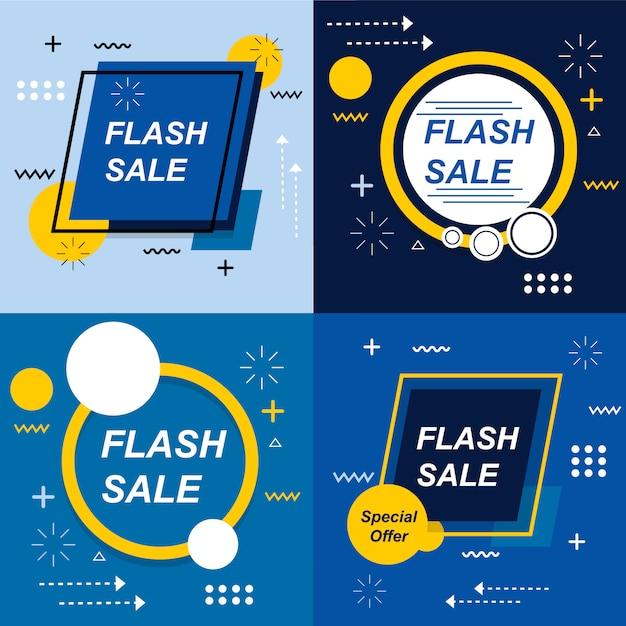 Flash sale banner set elements pacchetto vector premium Vettore Premium