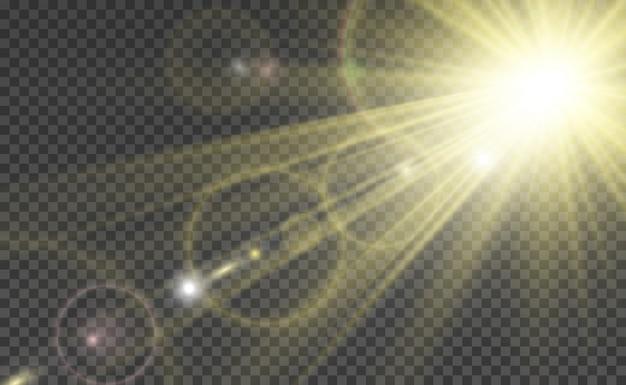 Flash speciale dell'obiettivo, effetto della luce. il flash lampeggia raggi e proiettore. Vettore Premium