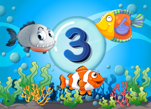 Flashcard numero tre con pesce sott'acqua Vettore Premium