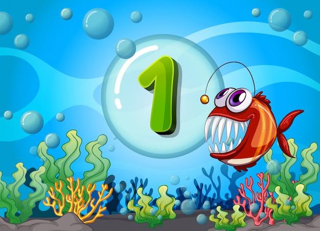 Flashcard numero uno con 1 pesce sott'acqua Vettore Premium