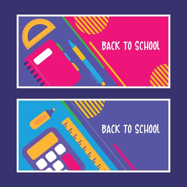 Flat back to school design set Vettore Premium