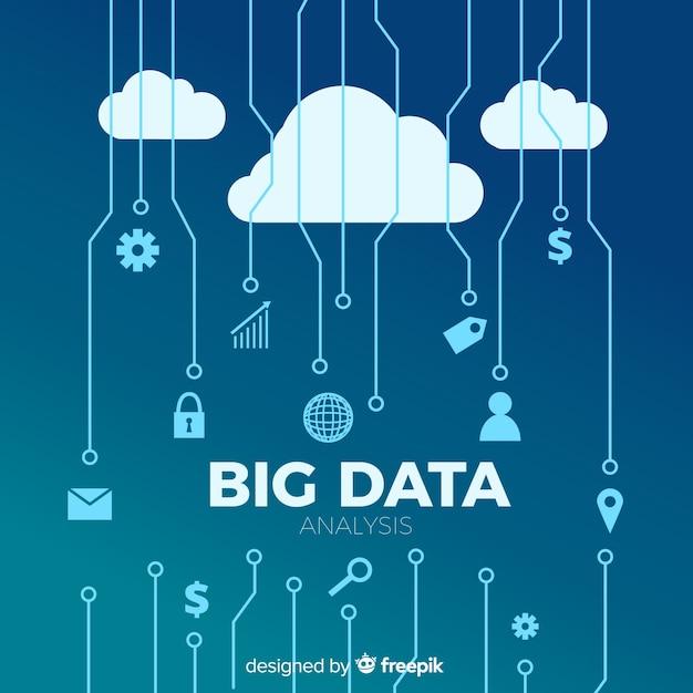 Flat big data background Vettore gratuito