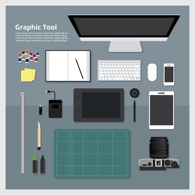 Flat design graphic designer concetto di luogo di lavoro Vettore Premium