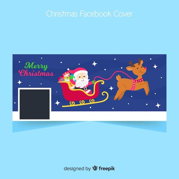 Flat facebook cover per natale Vettore gratuito