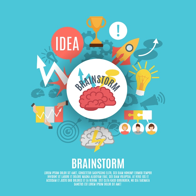Flat poster with brainstorm icons Vettore gratuito