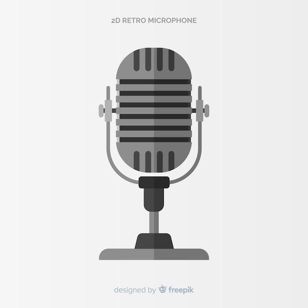 Flat retro microphone Vettore gratuito