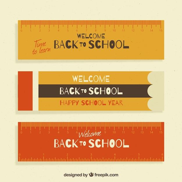 Flat stile back to school righello bandiere Vettore gratuito