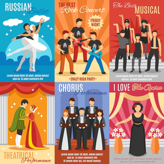 Flat theater posters set Vettore gratuito