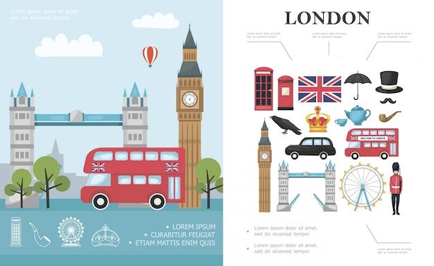 Flat travel to london composizione con bus big ben tower bridge guardia reale britannica ed elementi nazionali della gran bretagna Vettore gratuito