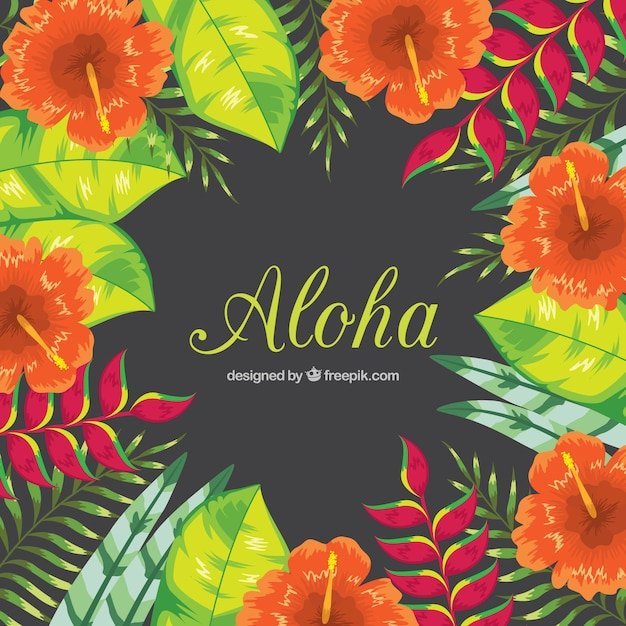 Floral background di aloha Vettore gratuito