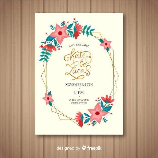Floreale con modello di carta di nozze cornice dorata Vettore gratuito