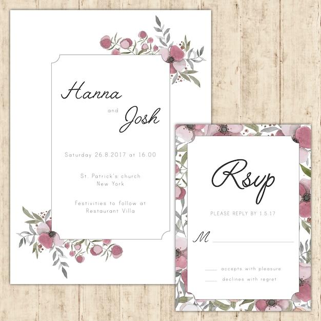 Floreale elegante invito a nozze e la carta di rsvp Vettore gratuito