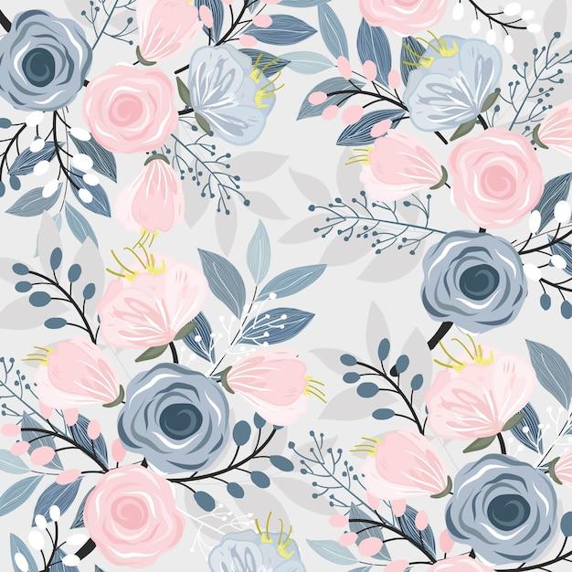 Floreale rosa e blu con motivo a foglie. Vettore Premium