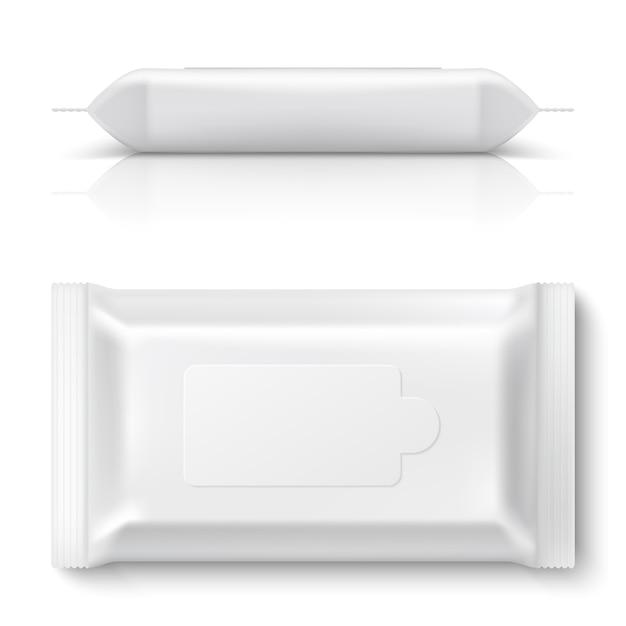 Flow pack salviettine umidificate. realistico bianco pulire l'imballaggio scatola di fazzoletti di plastica vuota vuota 3d cuscino pacchetto Vettore Premium