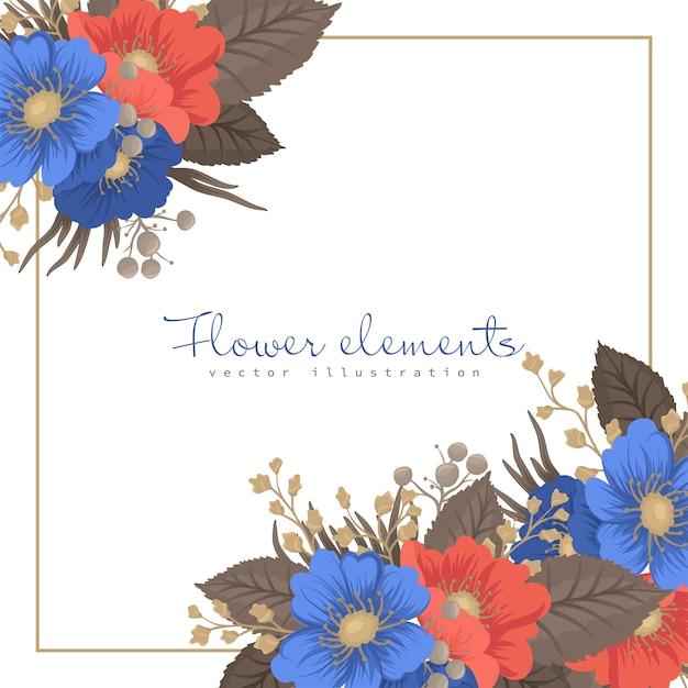 Flower boarder design - cornice di fiori Vettore gratuito