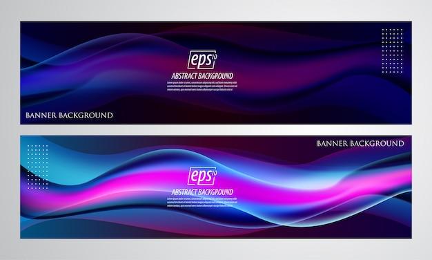 Fluido astratto banner sfondo sfumato Vettore Premium
