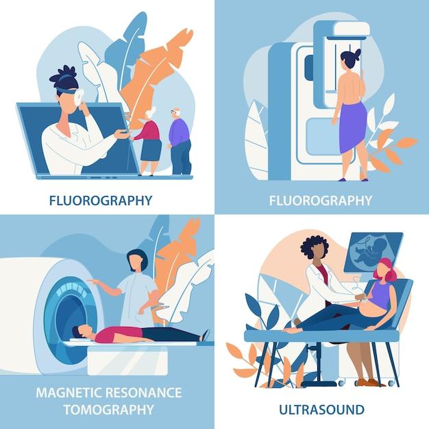 Fluorografia banner informativo, ultrasuoni. Vettore Premium