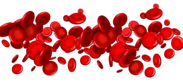 Flusso di globuli rossi, eritrocita medico. Vettore Premium