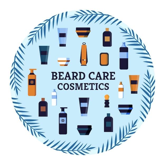 Flyer beard care cosmetici pubblicità da acquistare. Vettore Premium