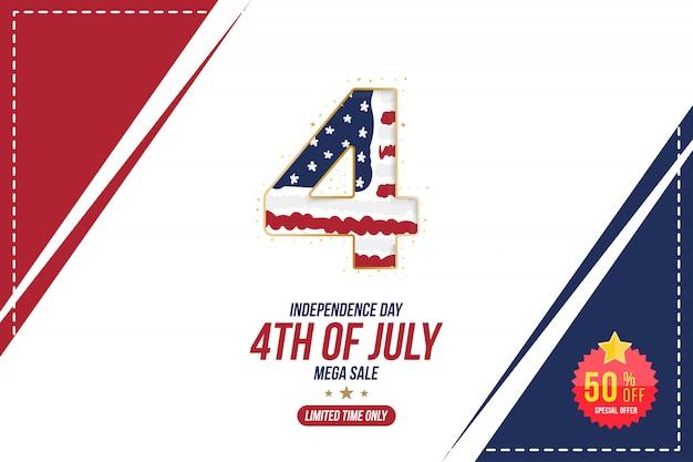 Flyer celebrate happy 4 luglio, banner del giorno dell'indipendenza Vettore Premium