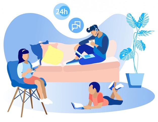 Flyer collaborazione remota in call center flat Vettore Premium