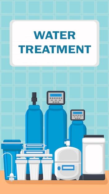 Flyer di servizio di installazione di filtri per l'acqua Vettore Premium