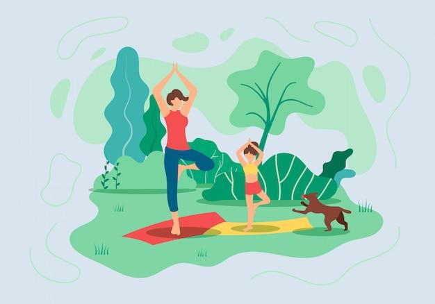 Flyer madre e figlia fanno yoga nella natura Vettore Premium