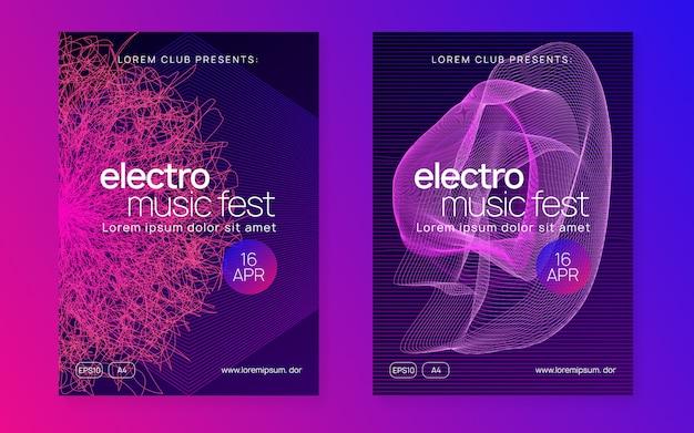 Flyer neon elettro dance dj Vettore Premium