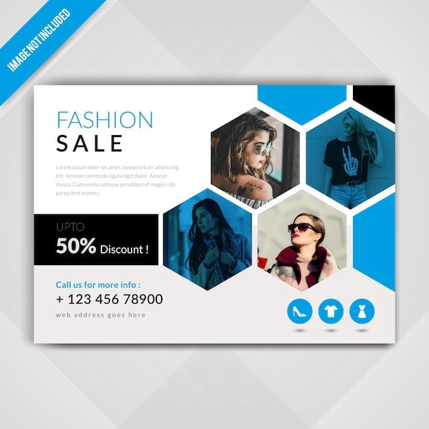 Flyer orizzontale di vendita di moda Vettore Premium