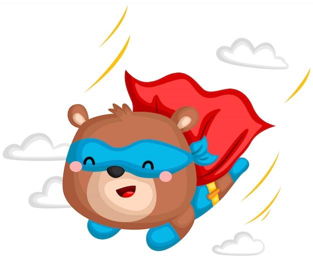 Flying bear supereroe Vettore Premium