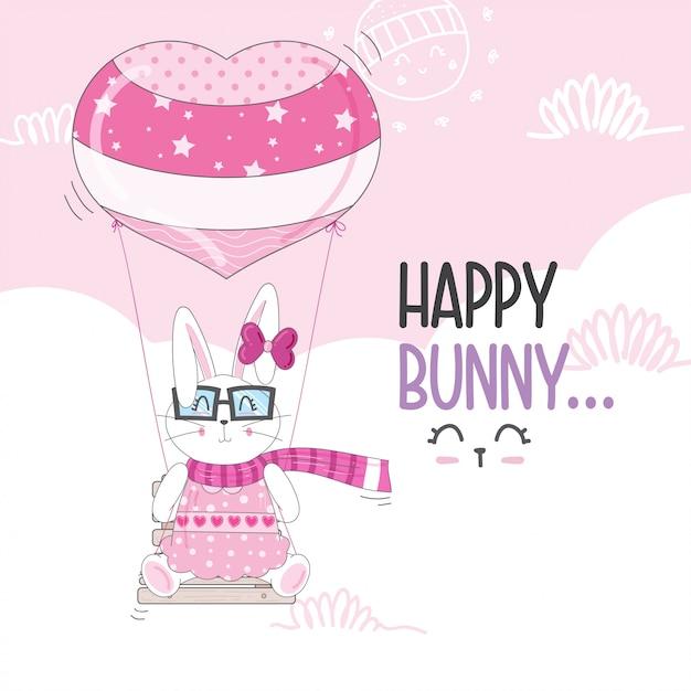 Flying little bunny con palloncini Vettore Premium