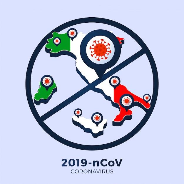 Focolaio di coronavirus da wuhan, cina. fai attenzione ai nuovi focolai di coronavirus in italia. diffusione del romanzo coronavirus background. Vettore Premium