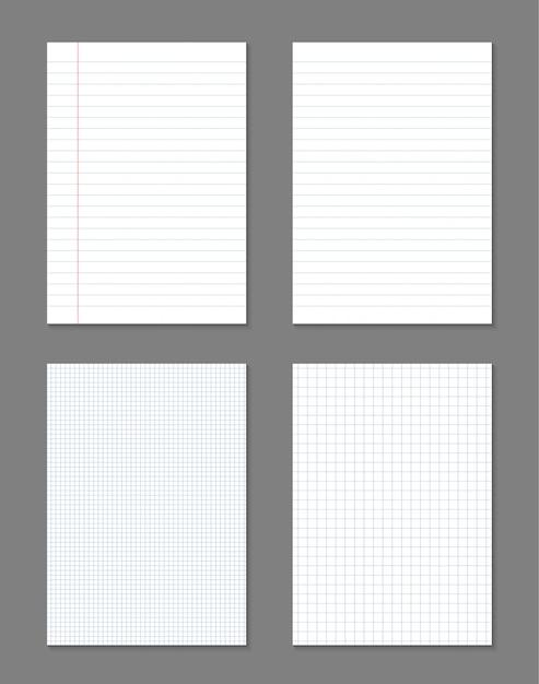 Fogli di carta quadrati, a righe, quaderno di pagine grigliate. Vettore Premium