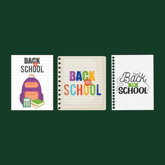 Fogli di quaderno con il messaggio di ritorno a scuola Vettore gratuito