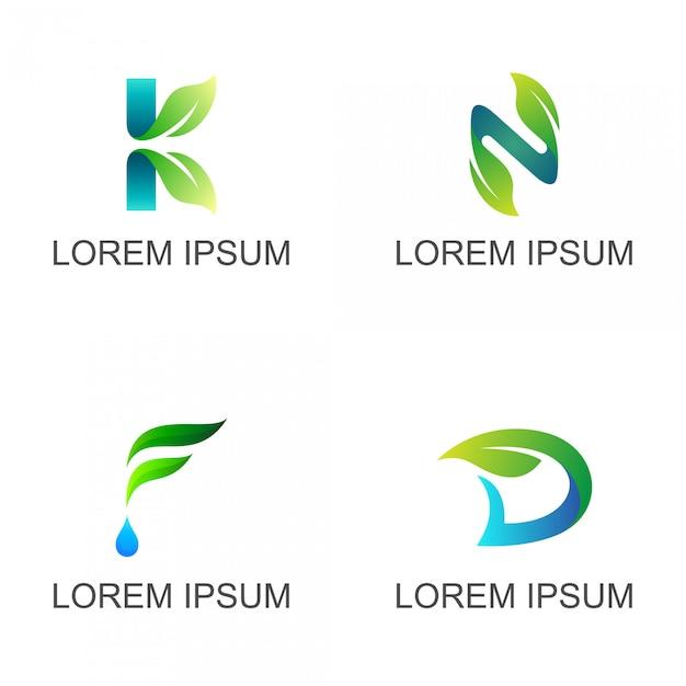 Foglia con logo iniziale lettera impostata Vettore Premium