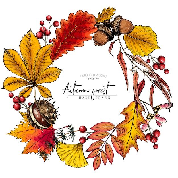 Foglia d'autunno disegnata a mano ghirlanda colorata vettoriale Vettore Premium