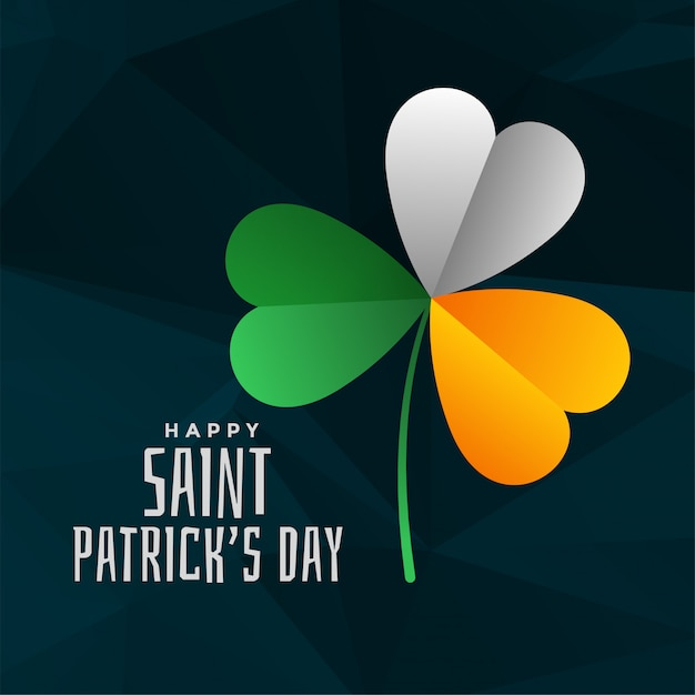 Foglia di trifoglio in colori bandiera irlandese per il giorno di san patrizio Vettore gratuito