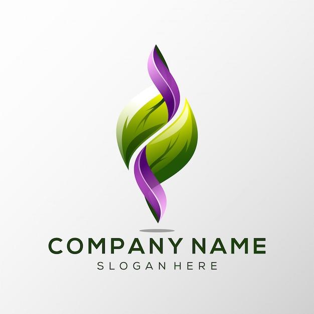 Foglia logo premium Vettore Premium