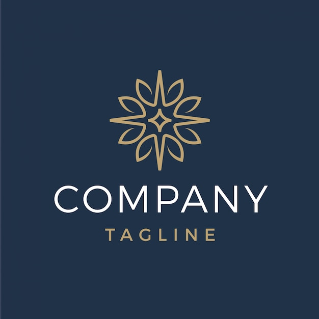 Foglie astratte di lusso e logo stella Vettore Premium