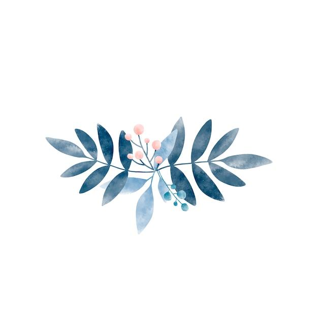 Foglie di acquerello con vettore di bacche Vettore gratuito